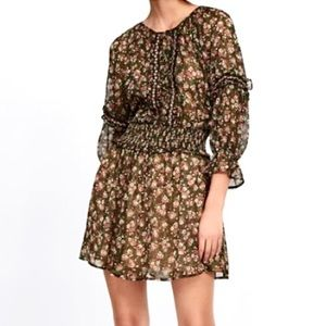Zara Cottage Core Peasant Dress Floral Beaded